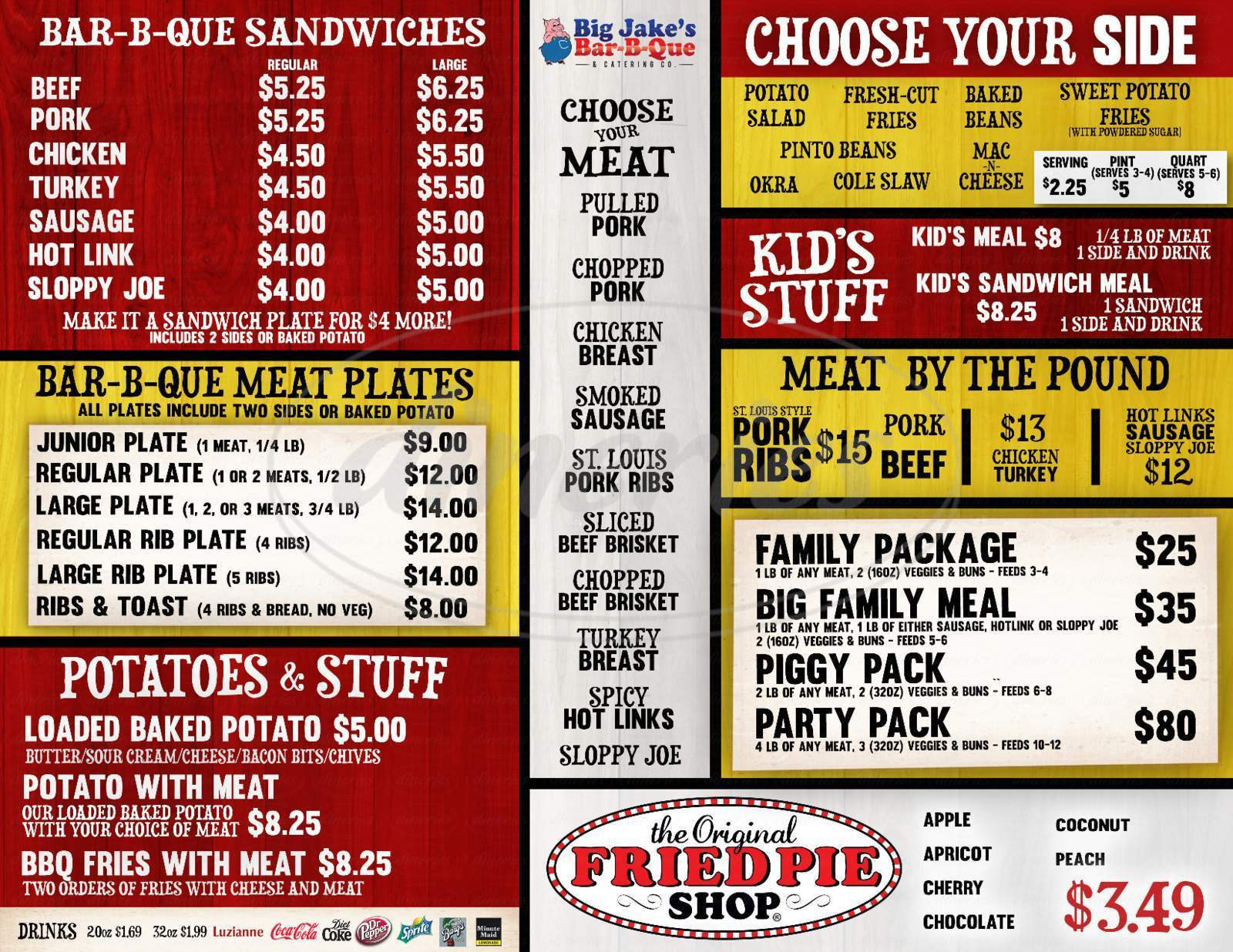 menu for Big Jakes Bar-B-Q