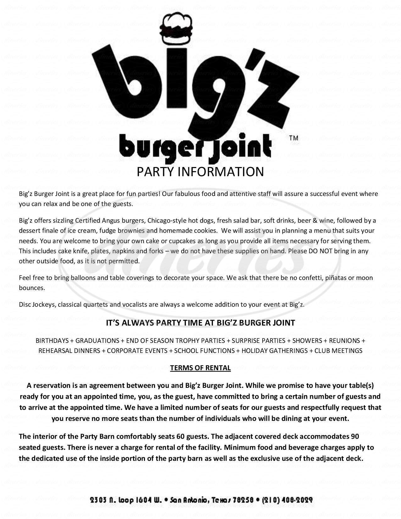 menu for Big'z Burger Joint