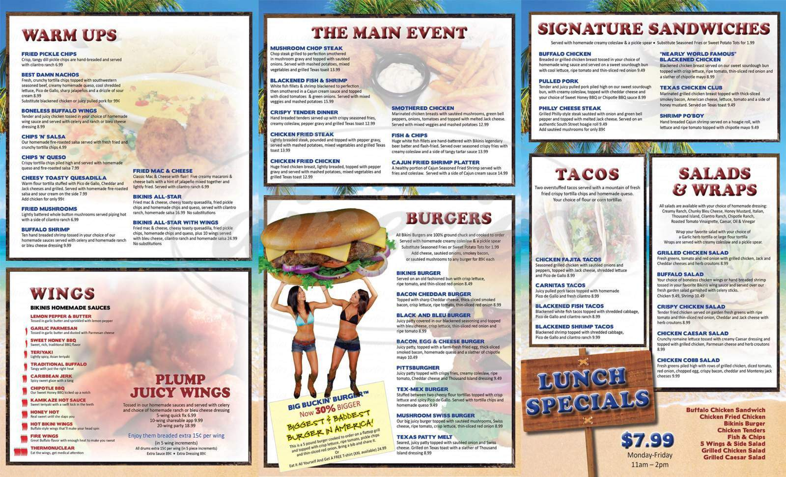 Big menu for Bikinis Sports Bar & Grill, Live Oak