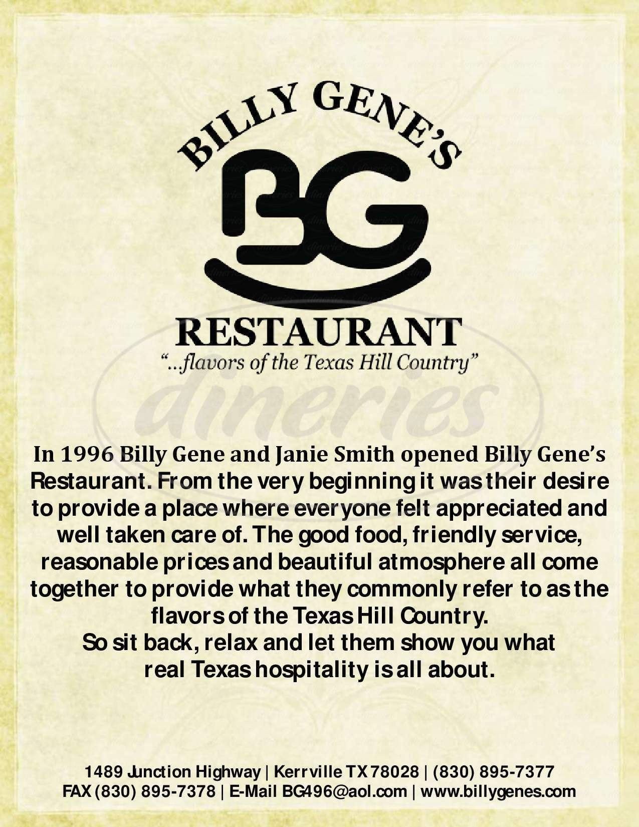 menu for Billy Gene's Reataurant