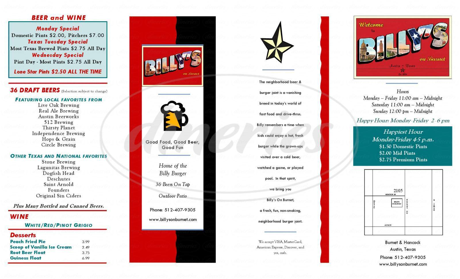 menu for Billy's on Burnet