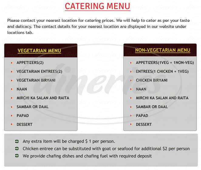 menu for Biryani Pot