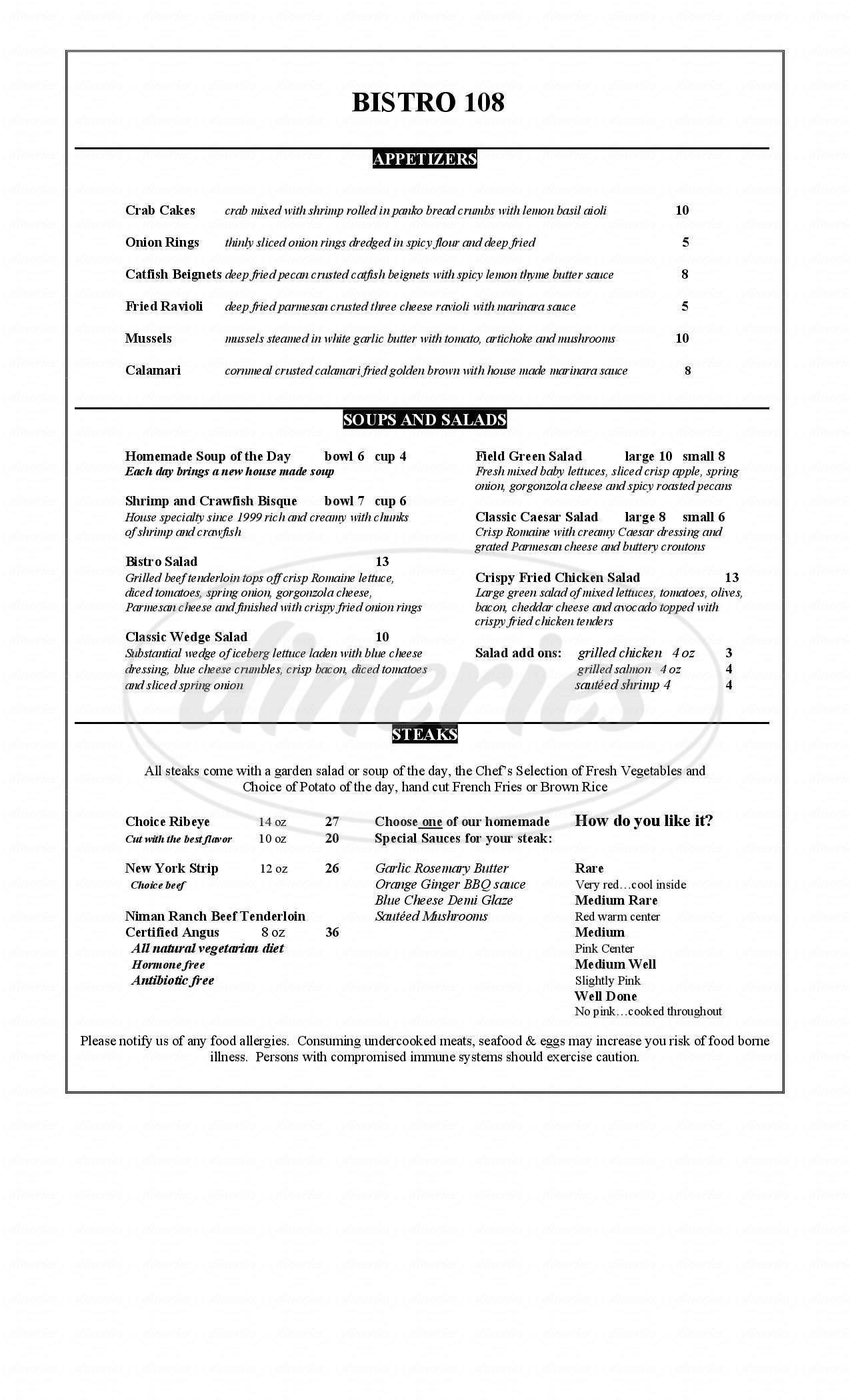 menu for Bistro 108