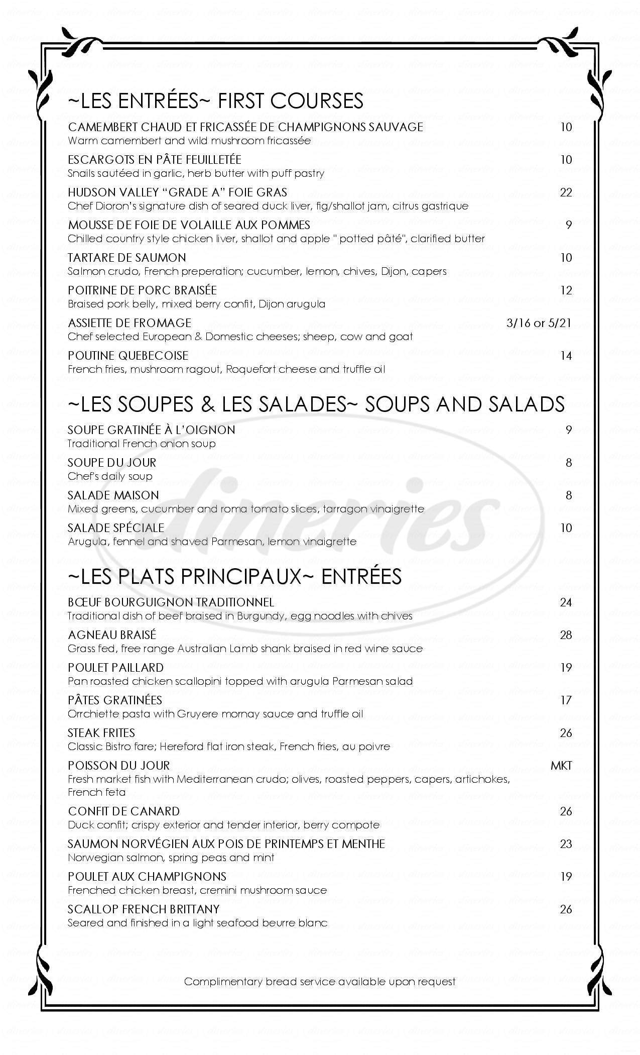 menu for Bistro Des Amis