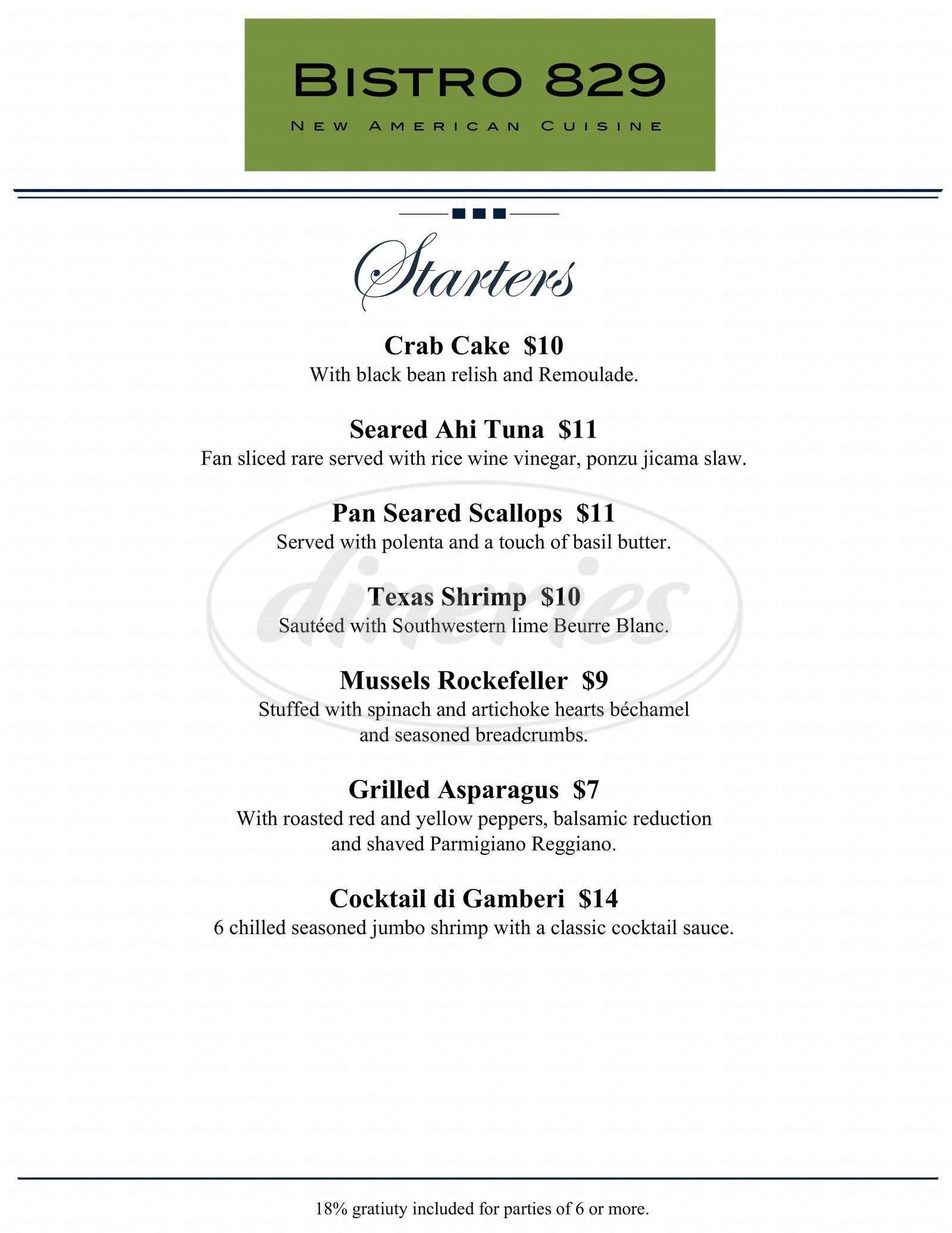menu for Bistro 829