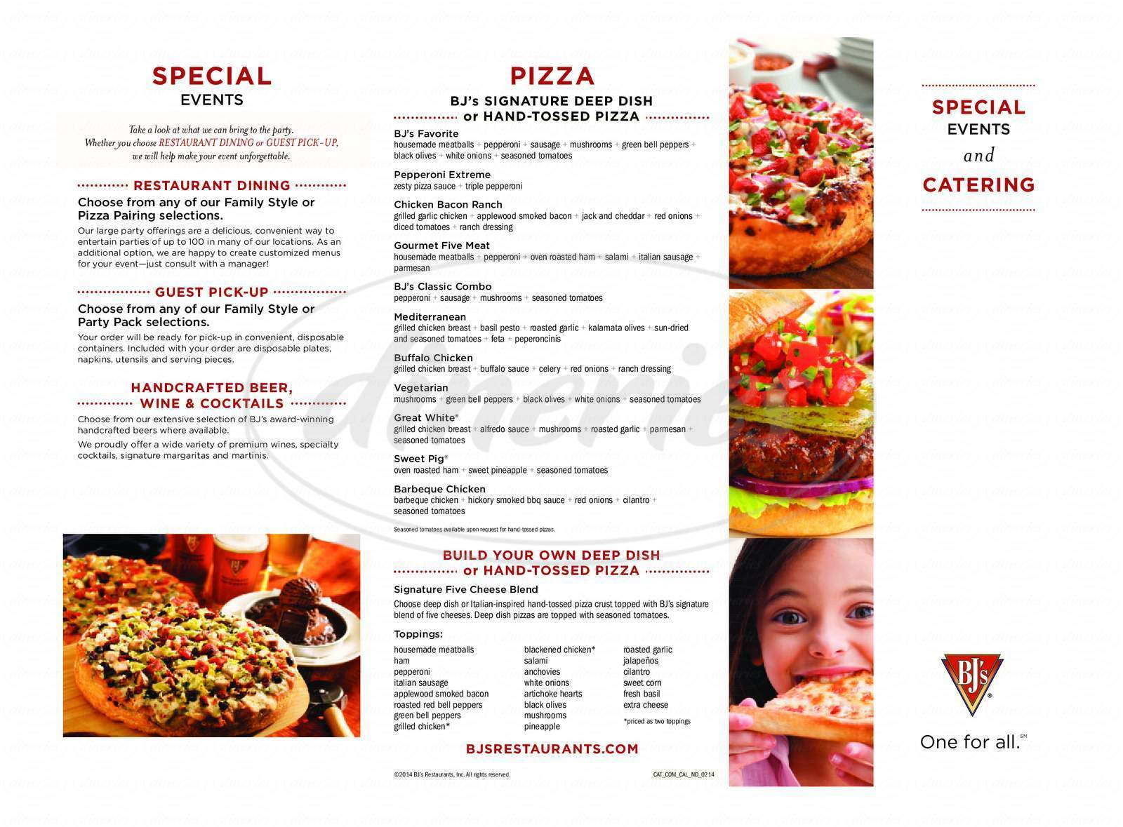 menu for BJ's Restaurant & Brewhouse