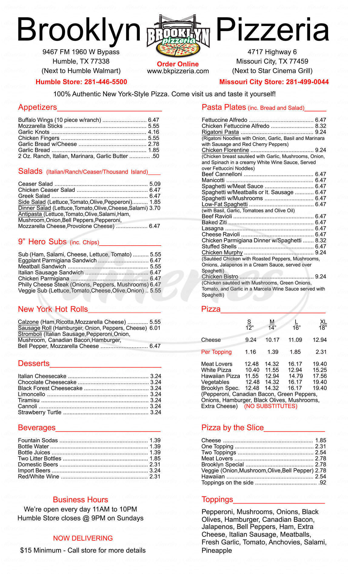 menu for Brooklyn Pizzeria
