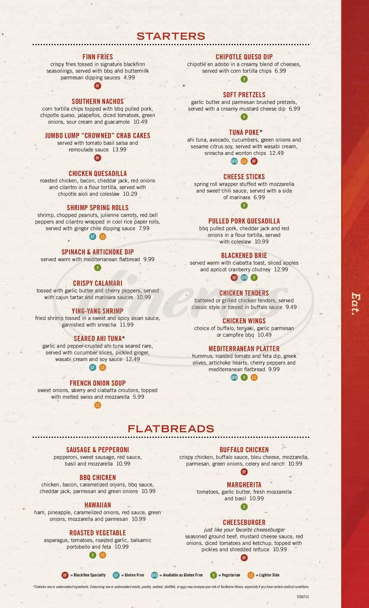 menu for Blackfinn Ameripub