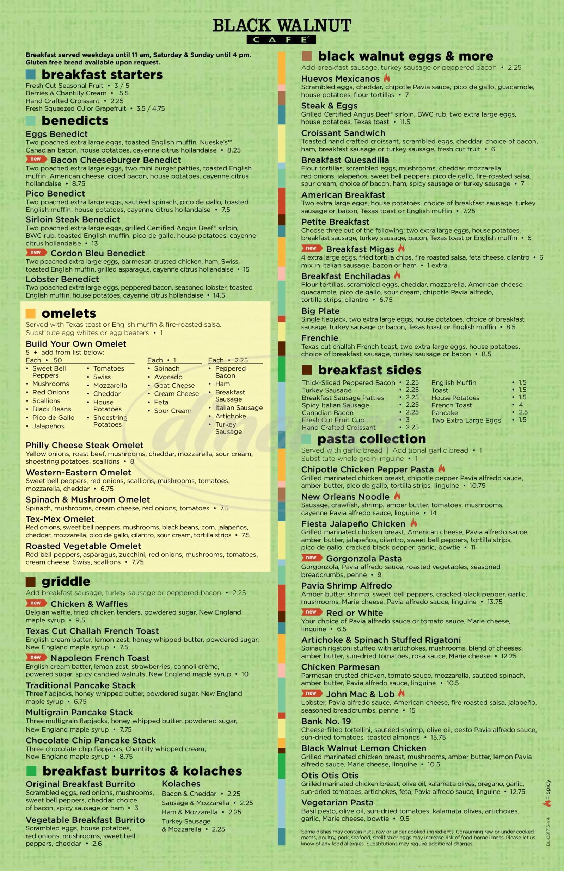 menu for Black Walnut Café