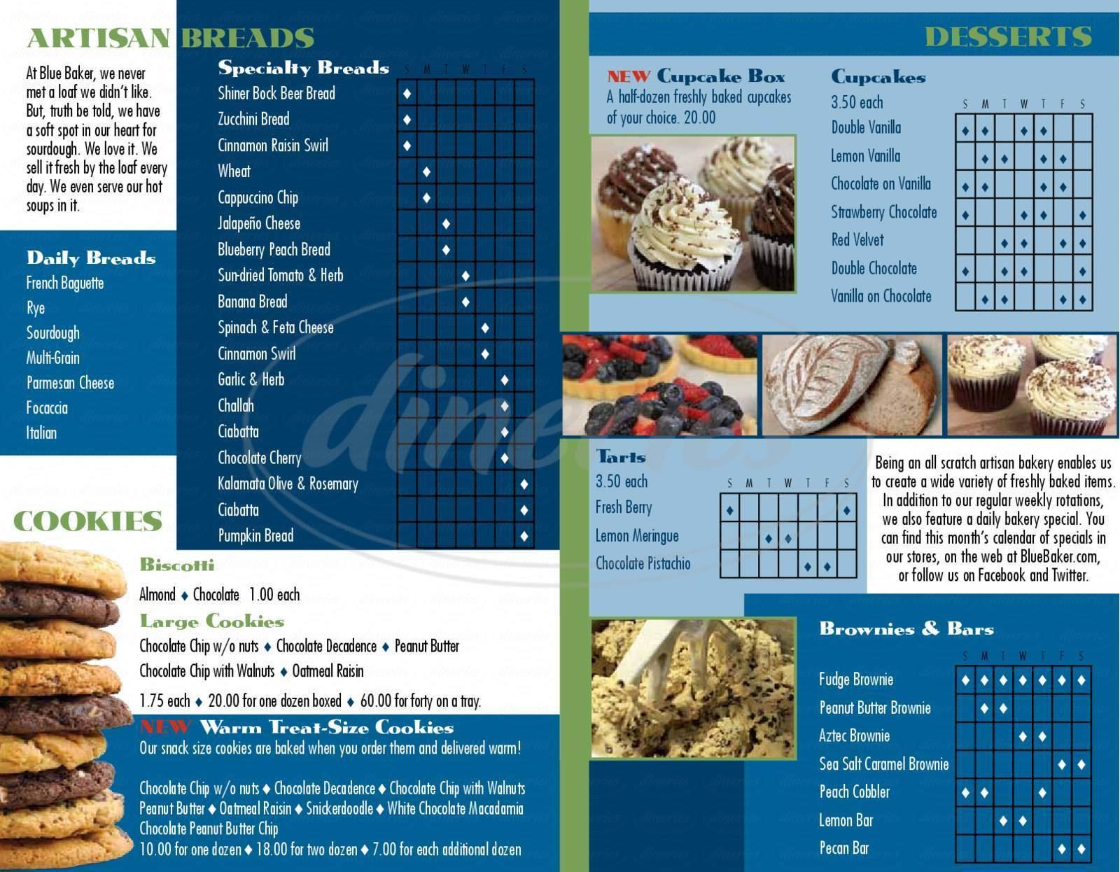 menu for Blue Baker