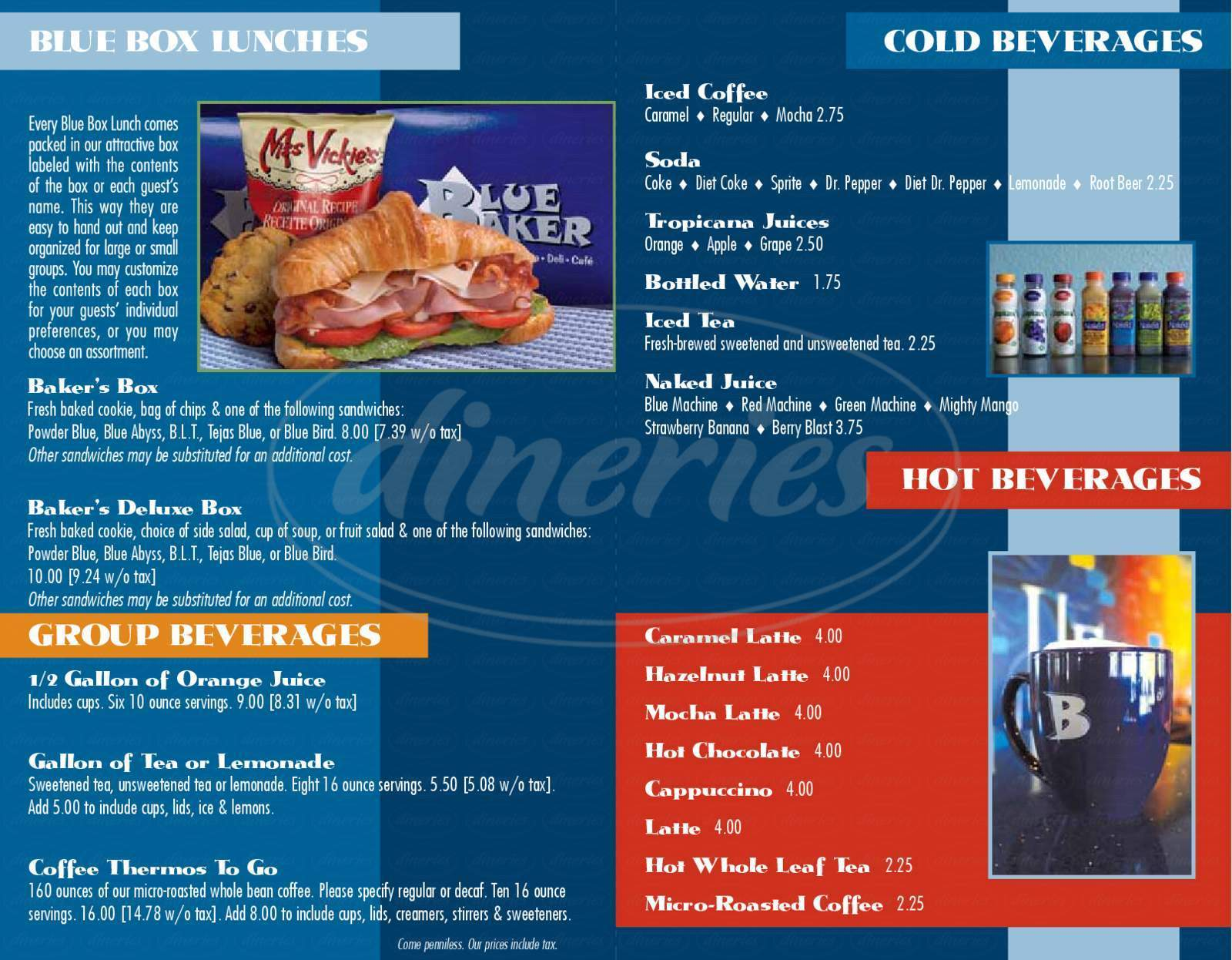 menu for Blue Baker