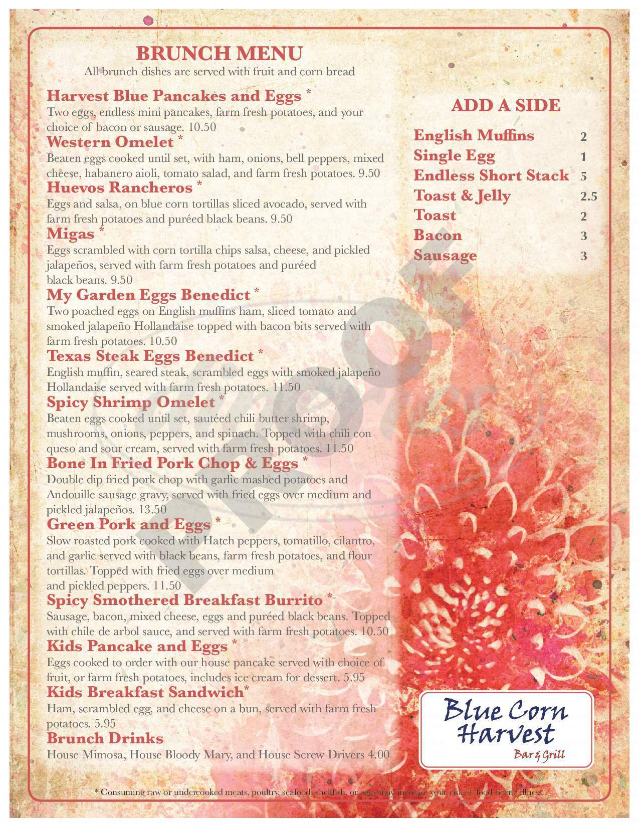 menu for Blue Corn Harvest Bar & Grill