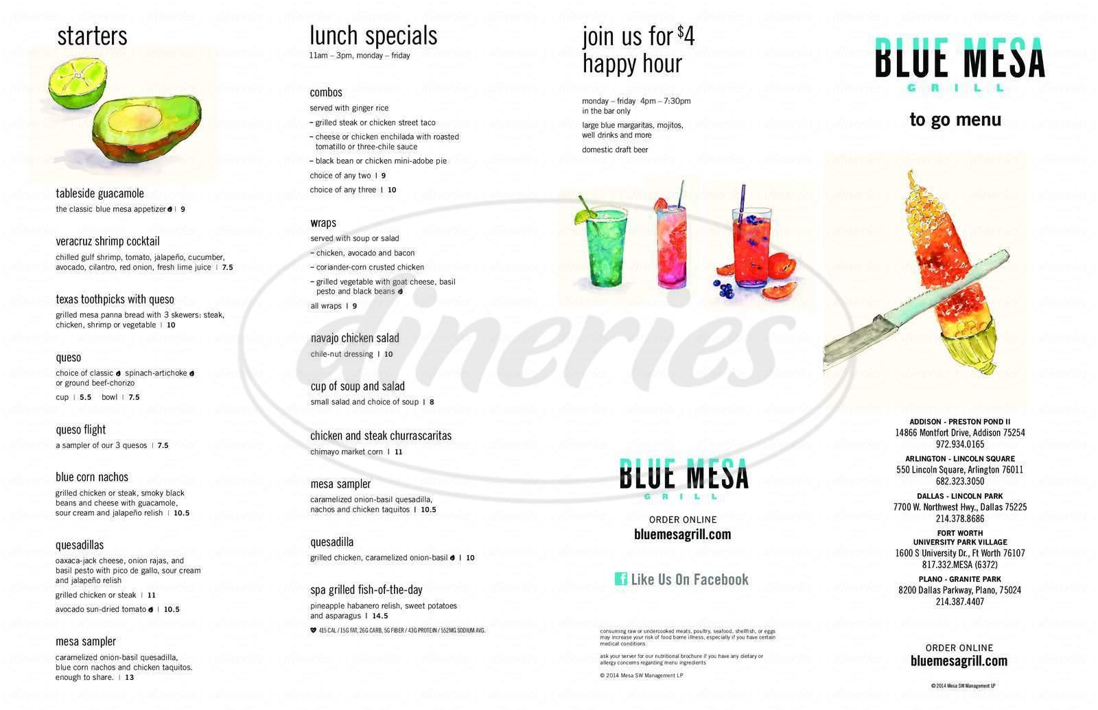 menu for Blue Mesa Grill