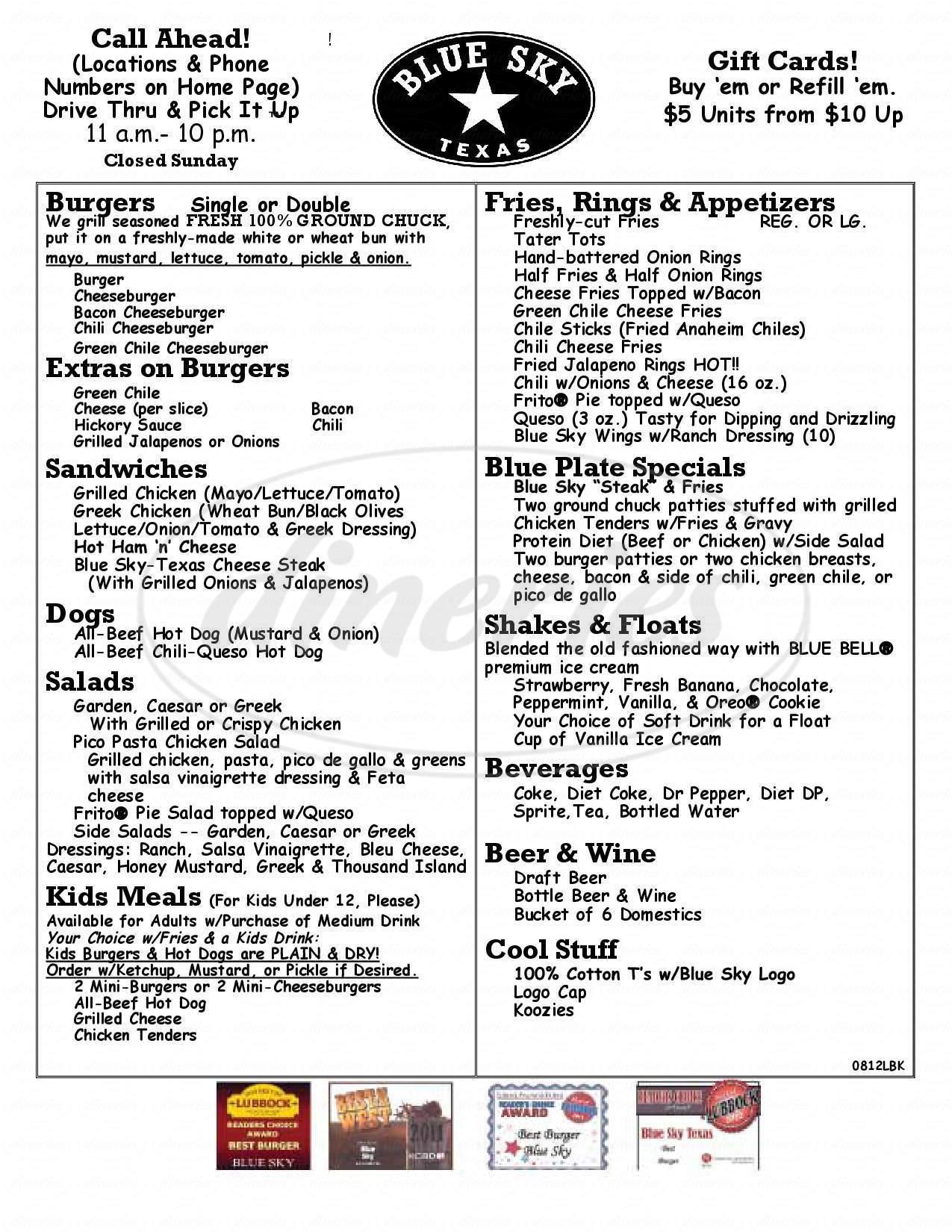 menu for Blue Sky Texas