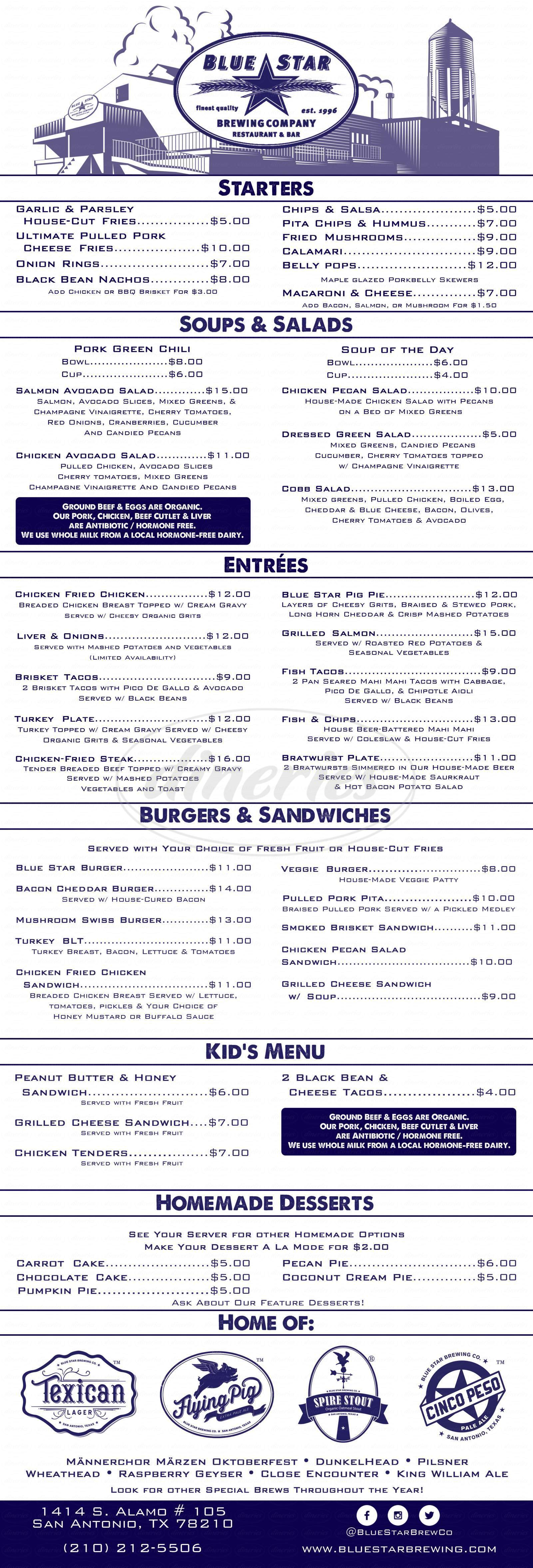 menu for Blue Star Brewing Co