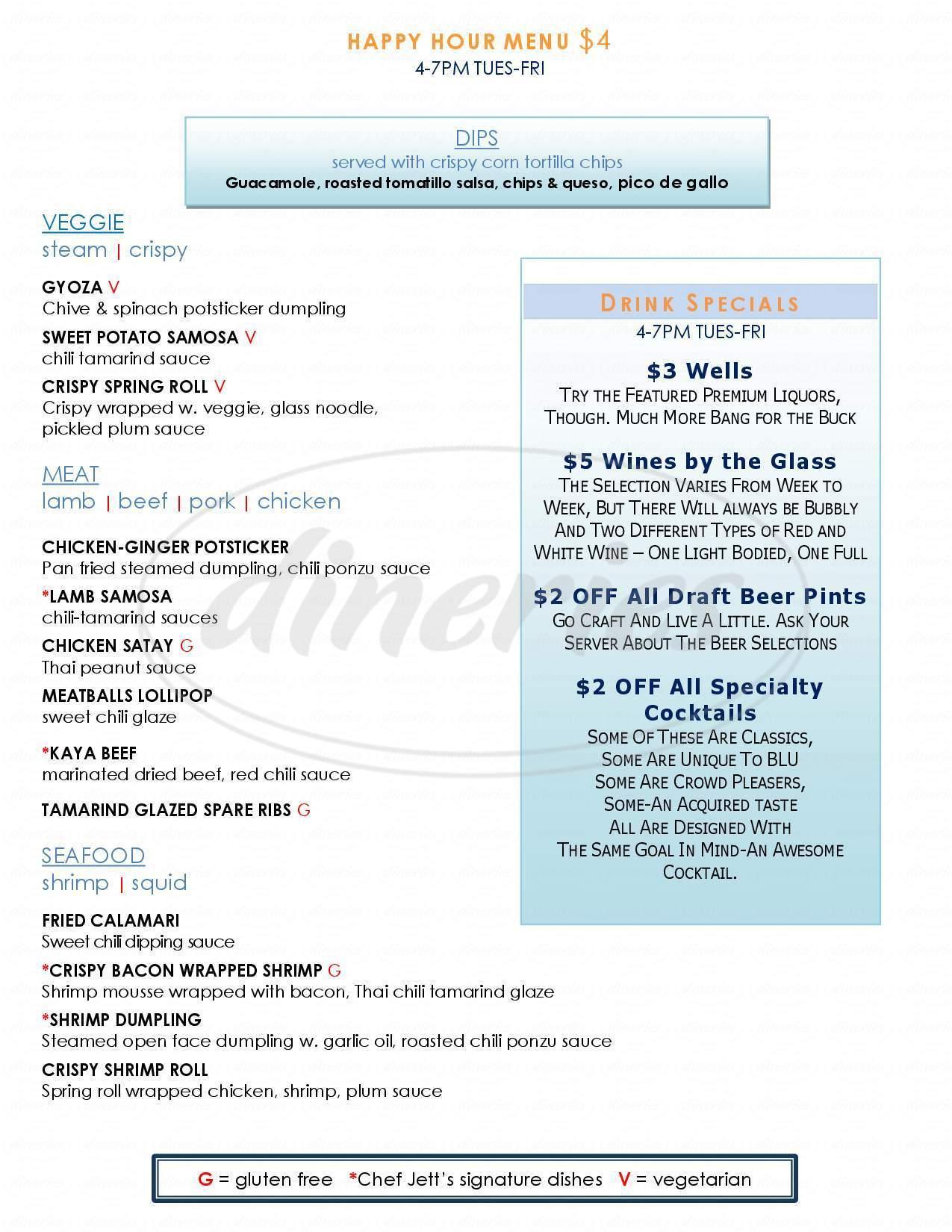menu for Blu Restaurant