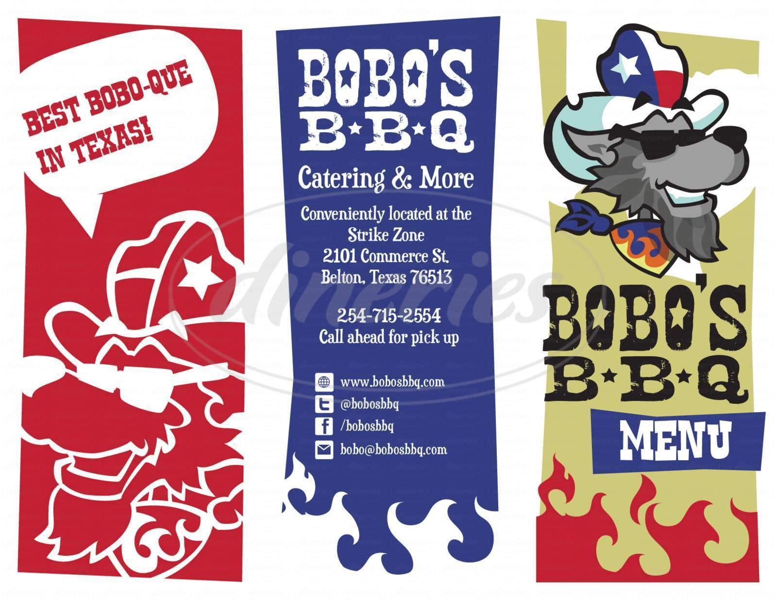 menu for Bobo's BBQ
