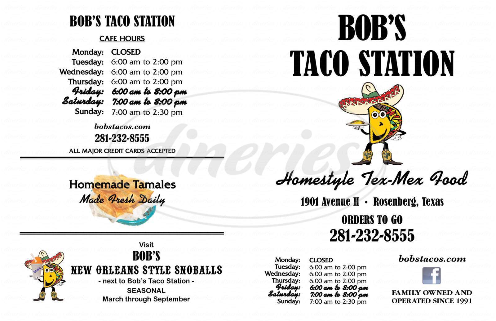 menu for Bob's Taco Station