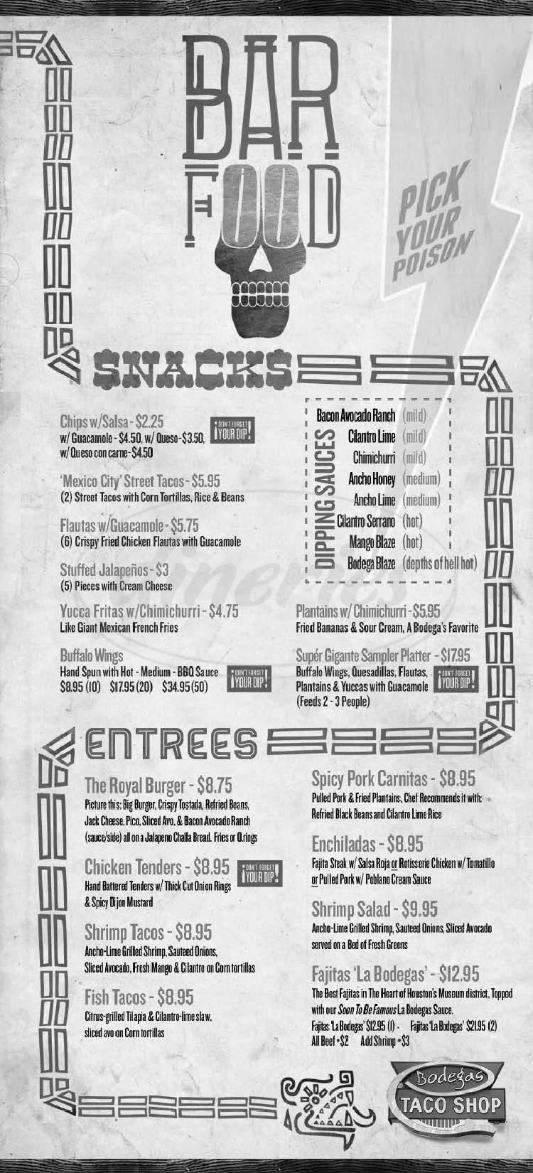 menu for Bodega's Taco Shop
