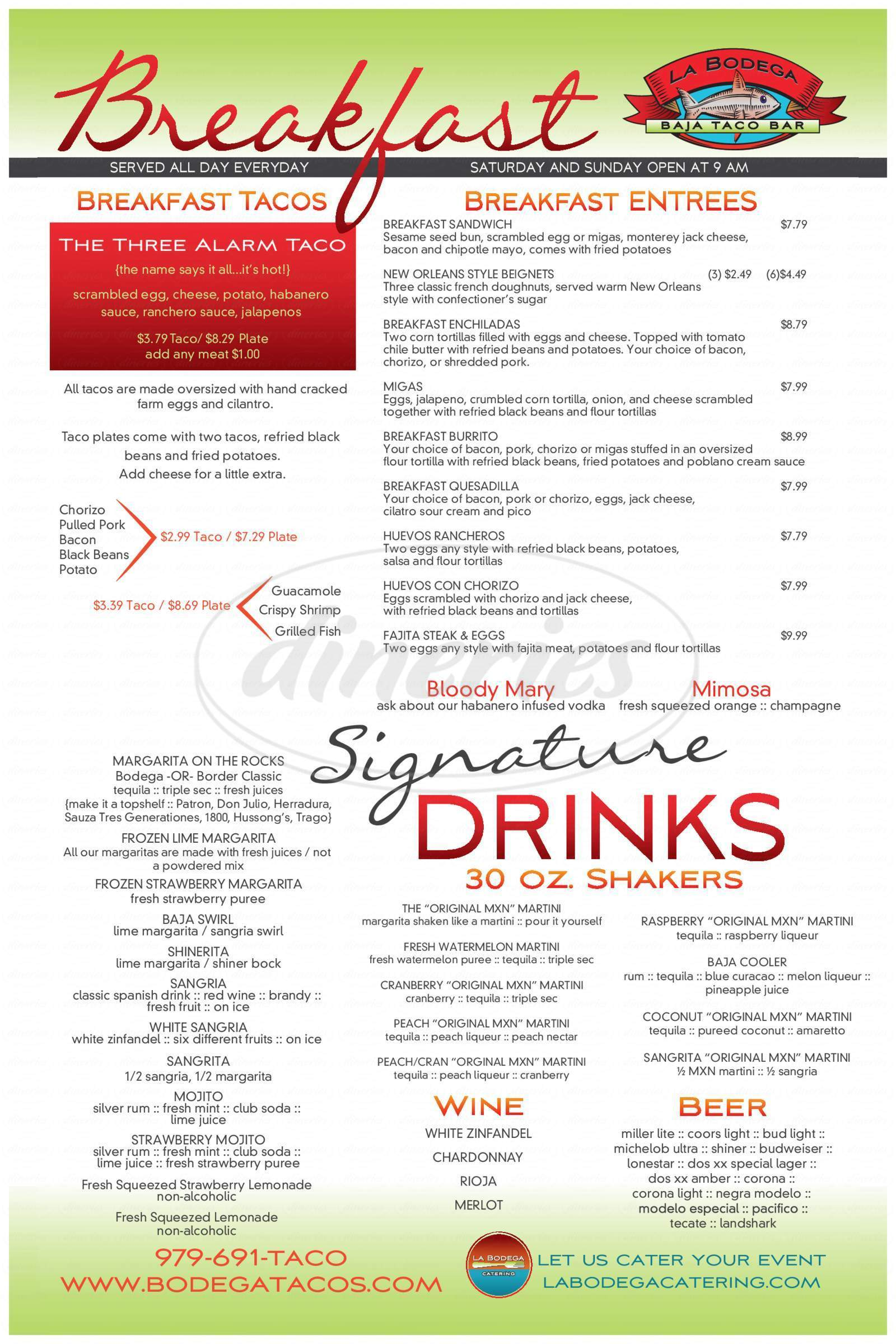 menu for La Bodega