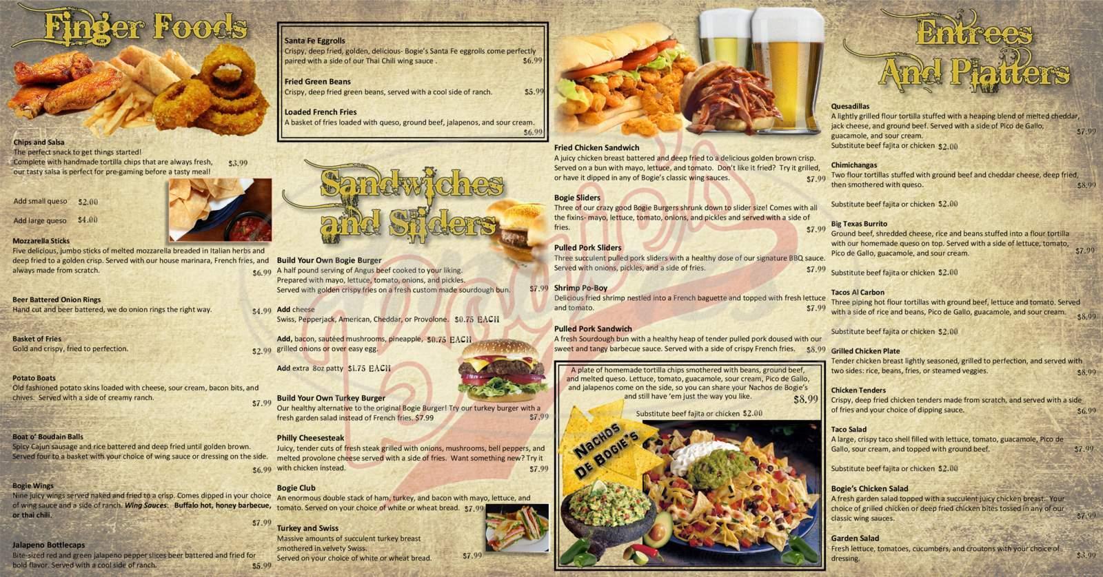 menu for Bogie's Pub & Grill