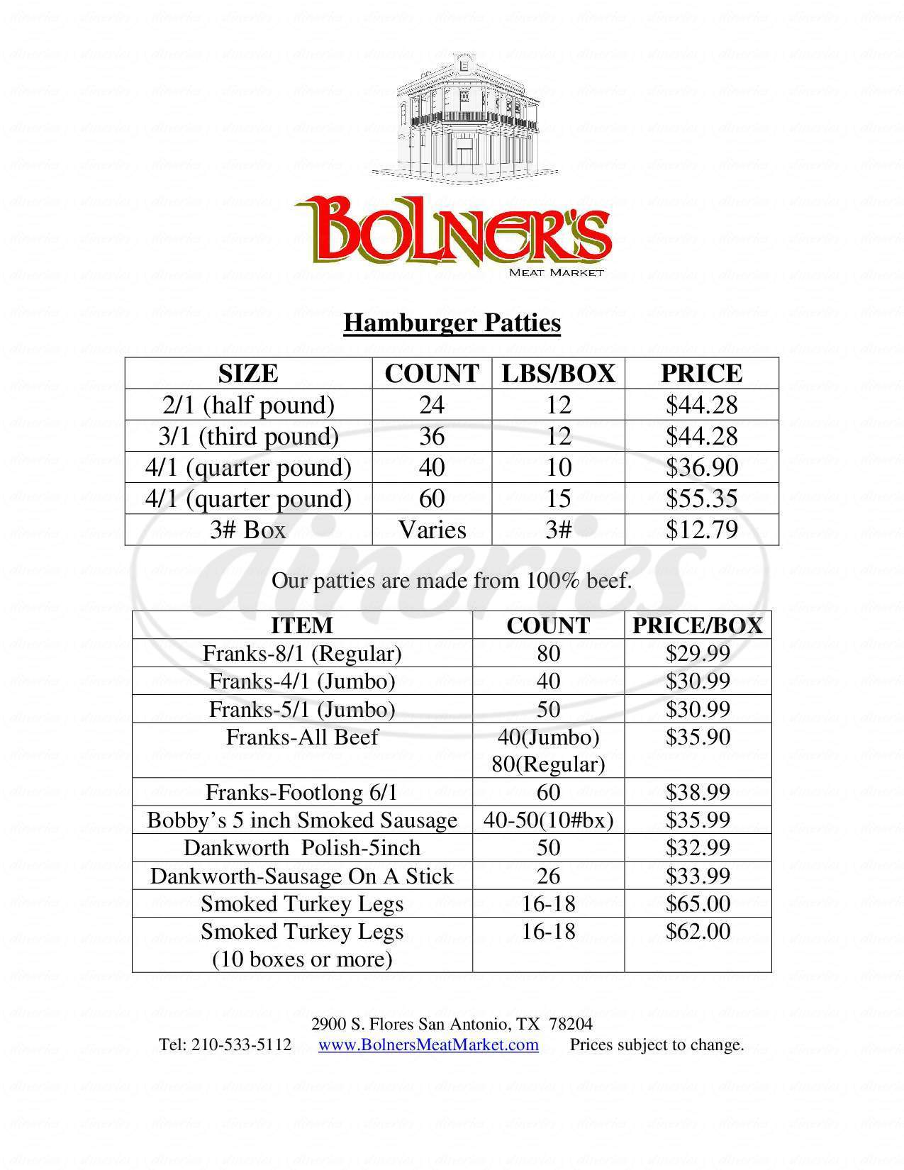 menu for Bolner's Grocery & Meat Market