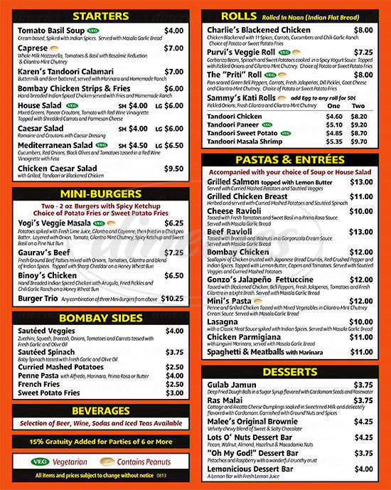 menu for Bombay Pizza Co
