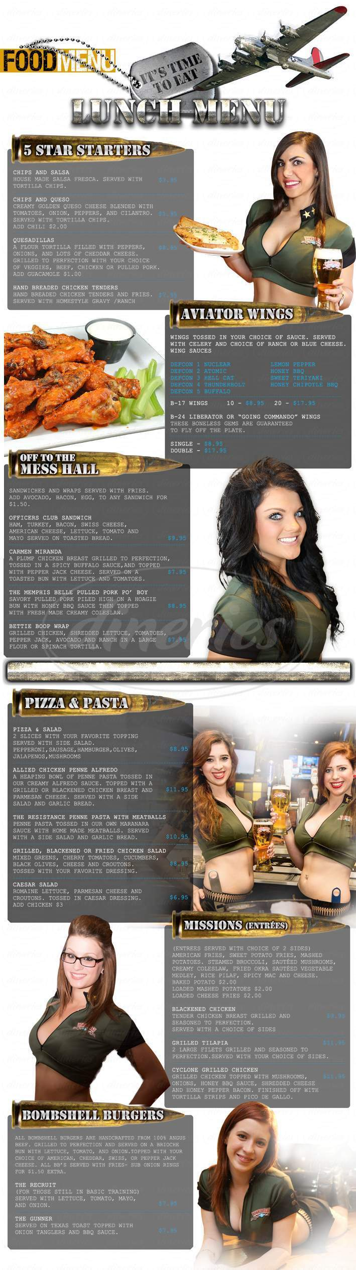 menu for Bombshells Restaurant & Bar