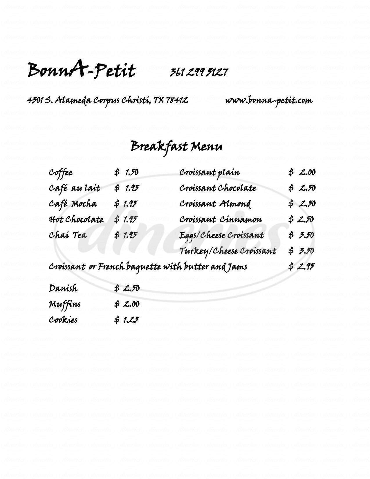 menu for Bonn Apetit