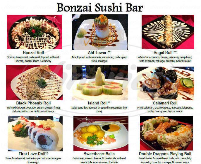 menu for Bonzai Japanese Steakhouse