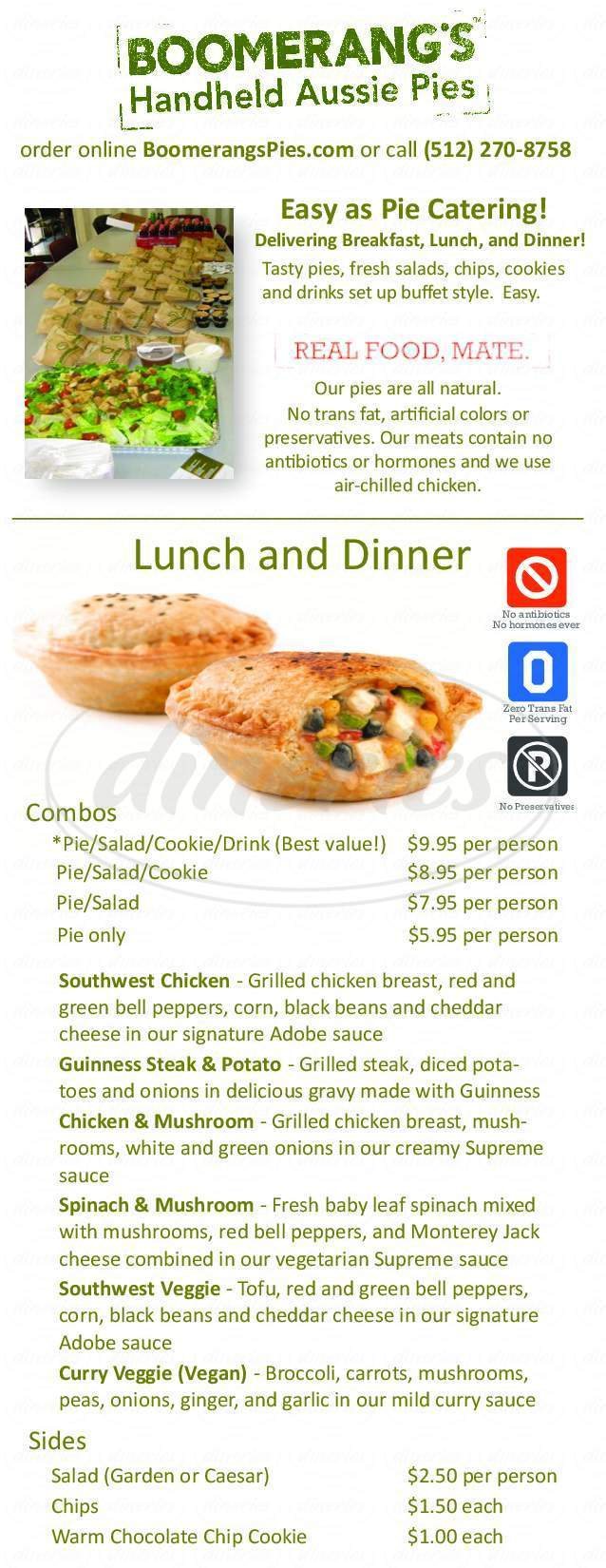 menu for Boomerang's Gourmet Veggie & Meat Pies