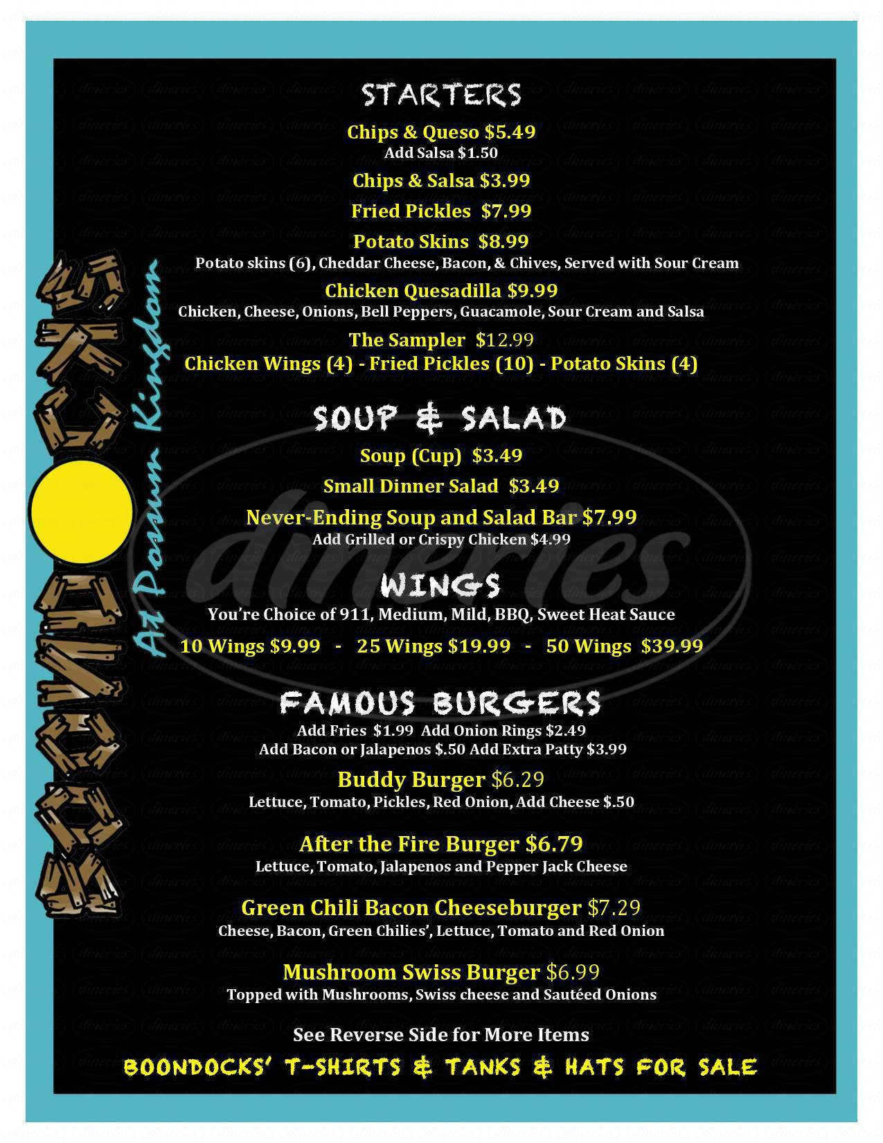 menu for BoondocksPK Bar & Grill