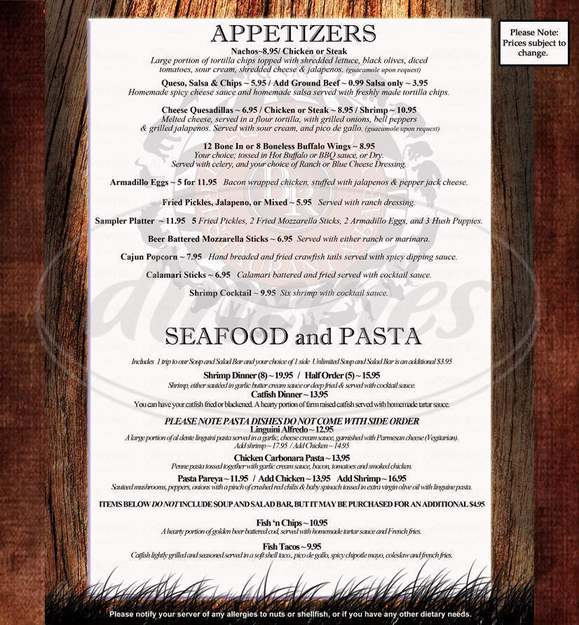 menu for Bosque Resort Restaurant