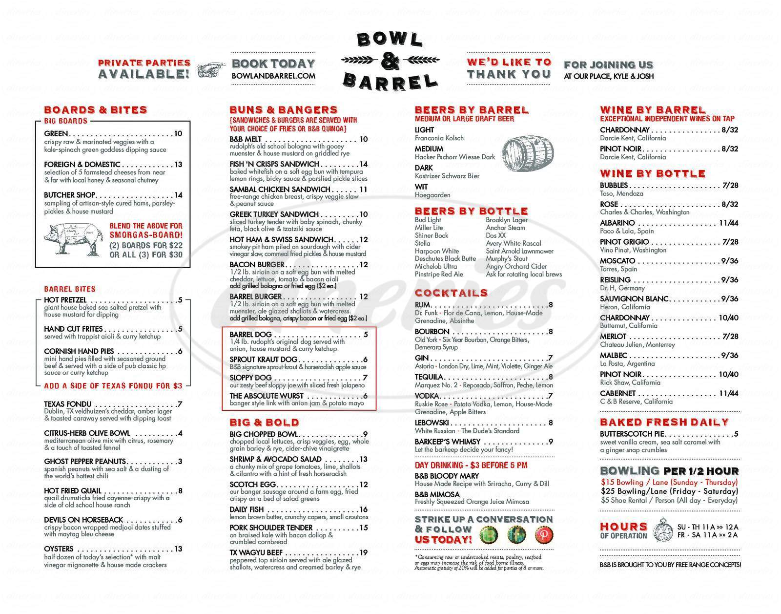 menu for Bowl & Barrel