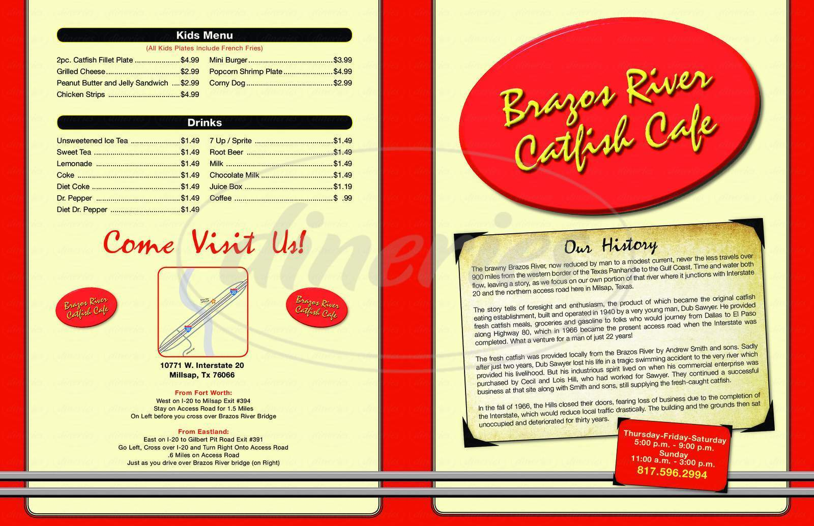 menu for Brazos River Catfish Cafe