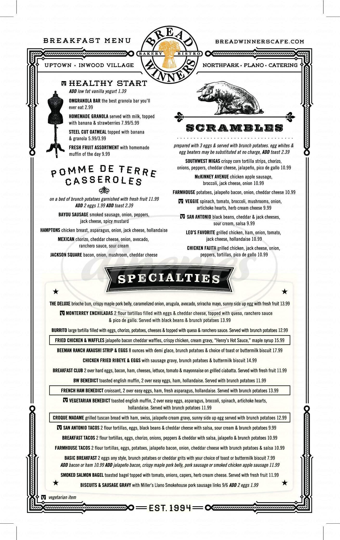 menu for Bread Winners Cafe & Bakery