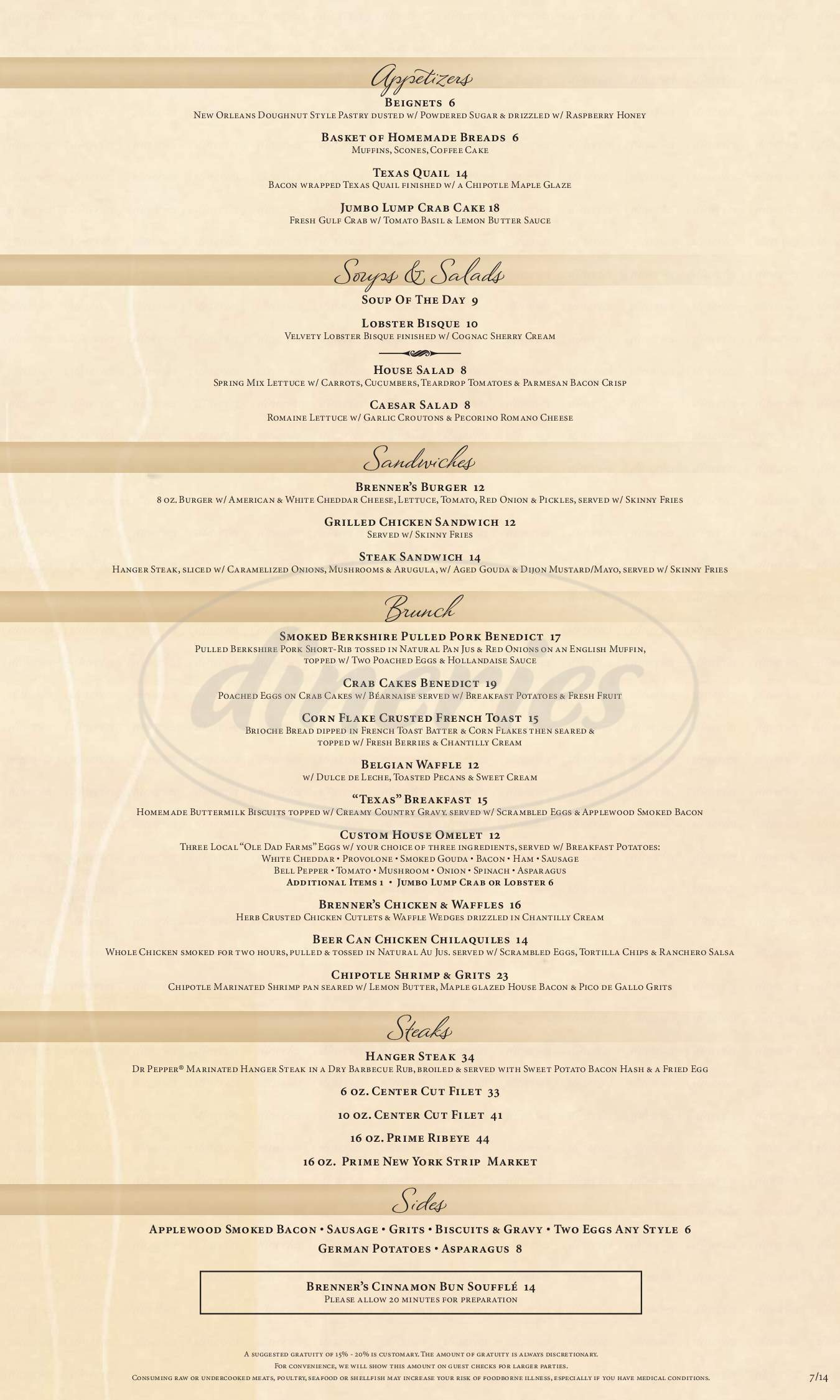menu for Brenner's on the Bayou