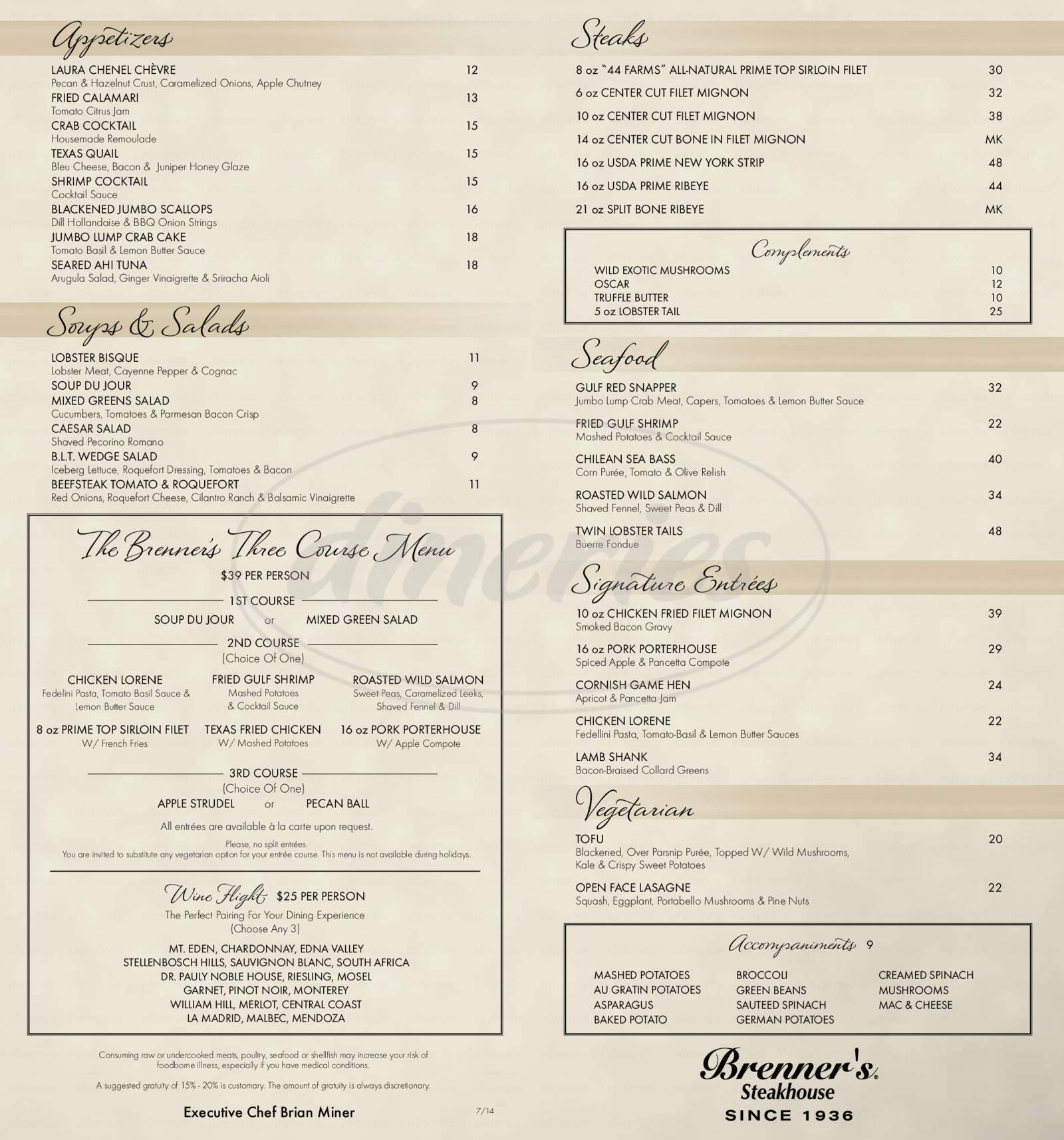 menu for Brenner's Steakhouse