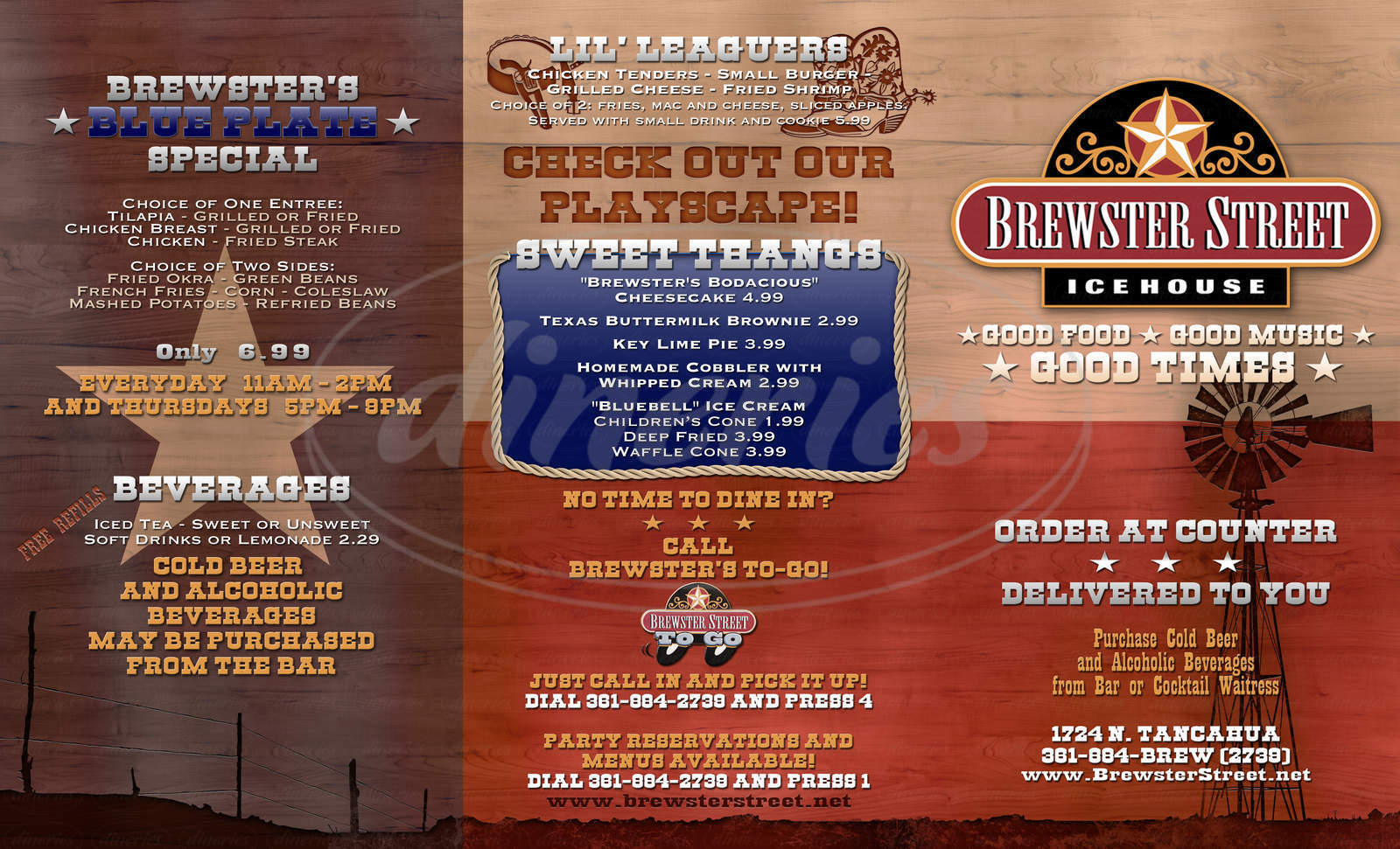 menu for Brewster Street Ice House
