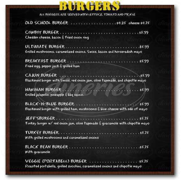 menu for Brick House Burgers