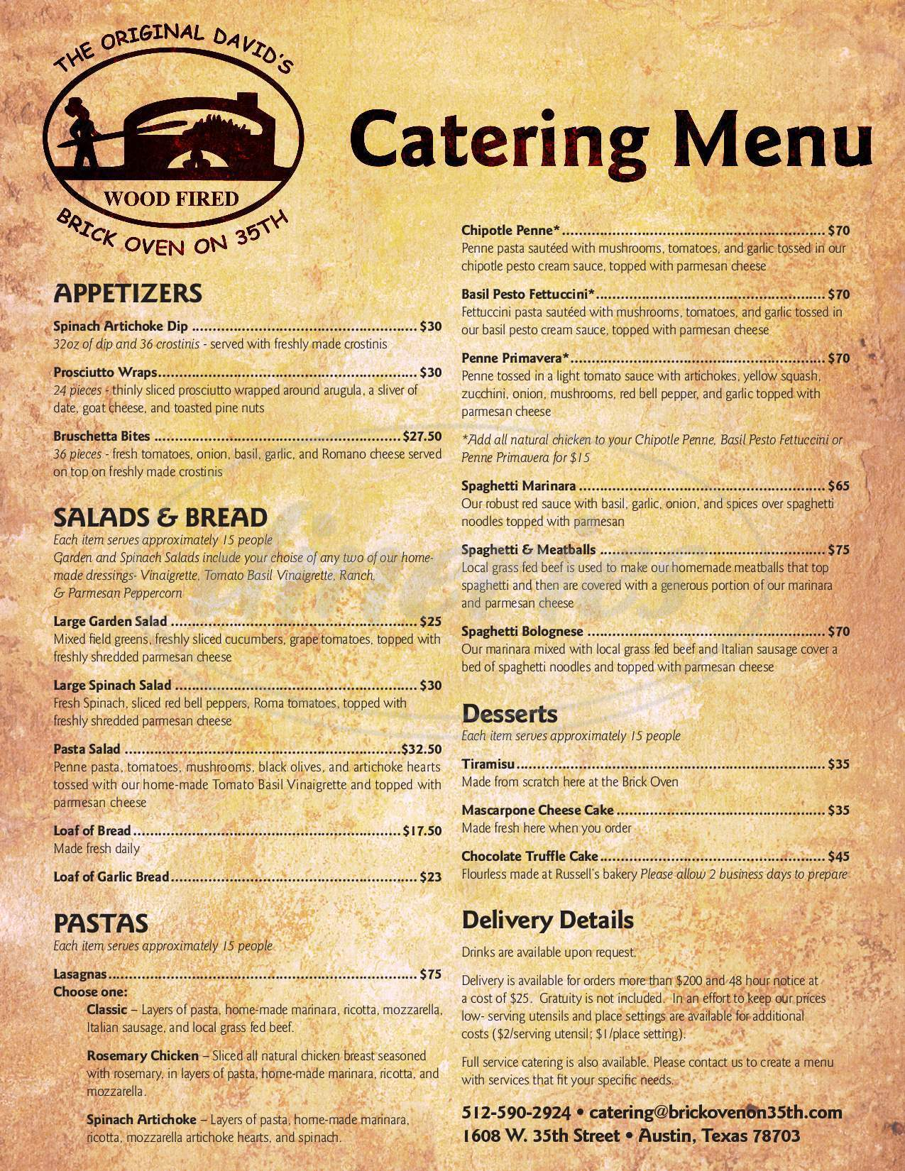 menu for Brick Oven on 35th