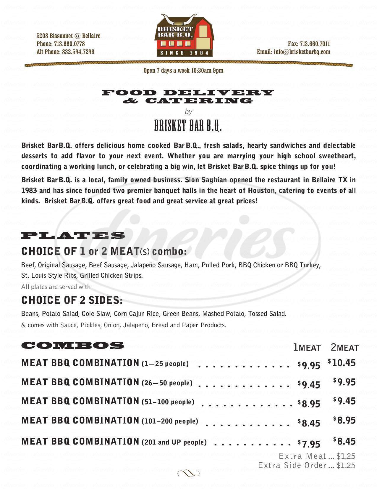 menu for Brisket Bar-B-Q