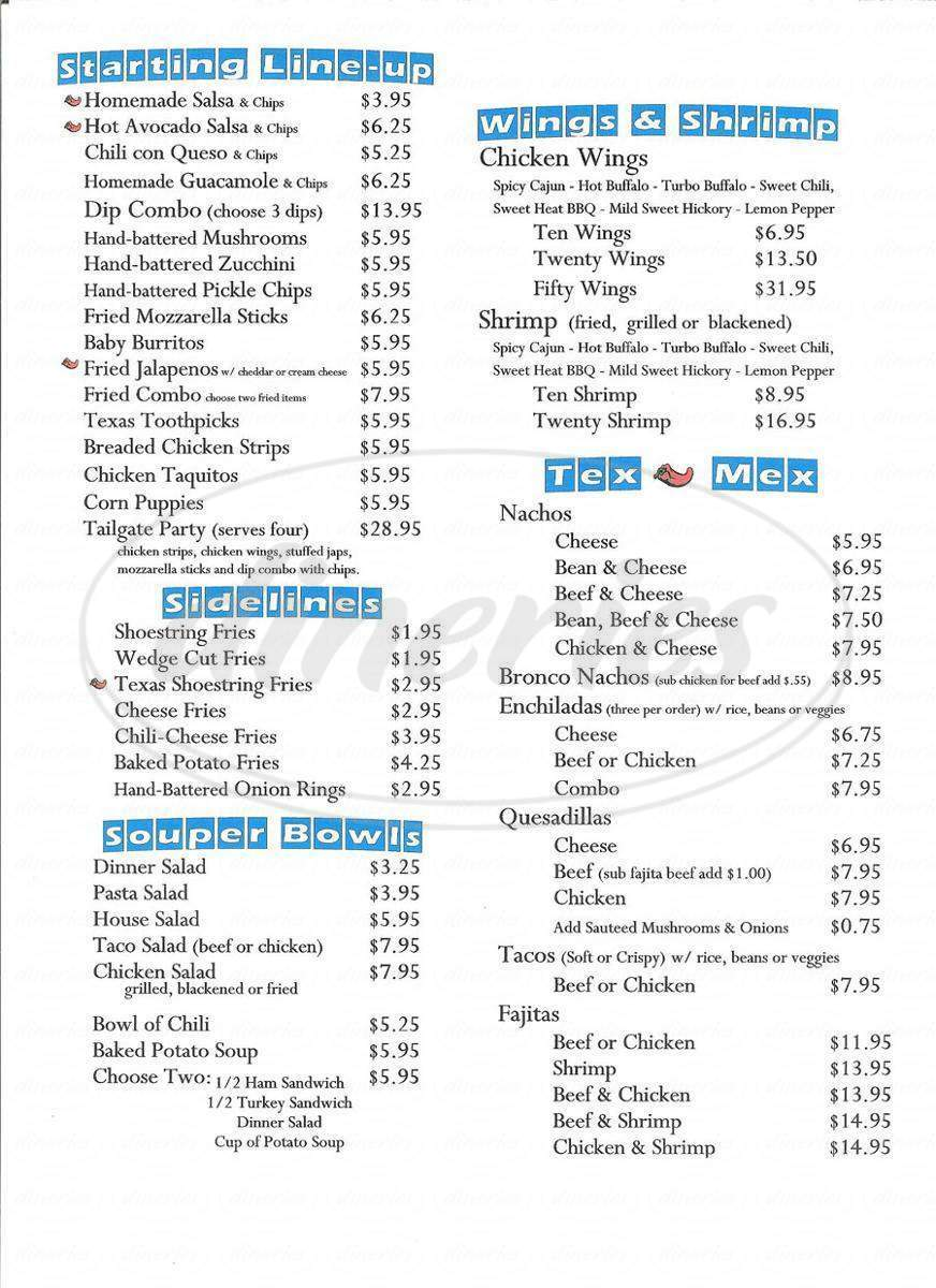 menu for Bronco's Sports Bar and Grill
