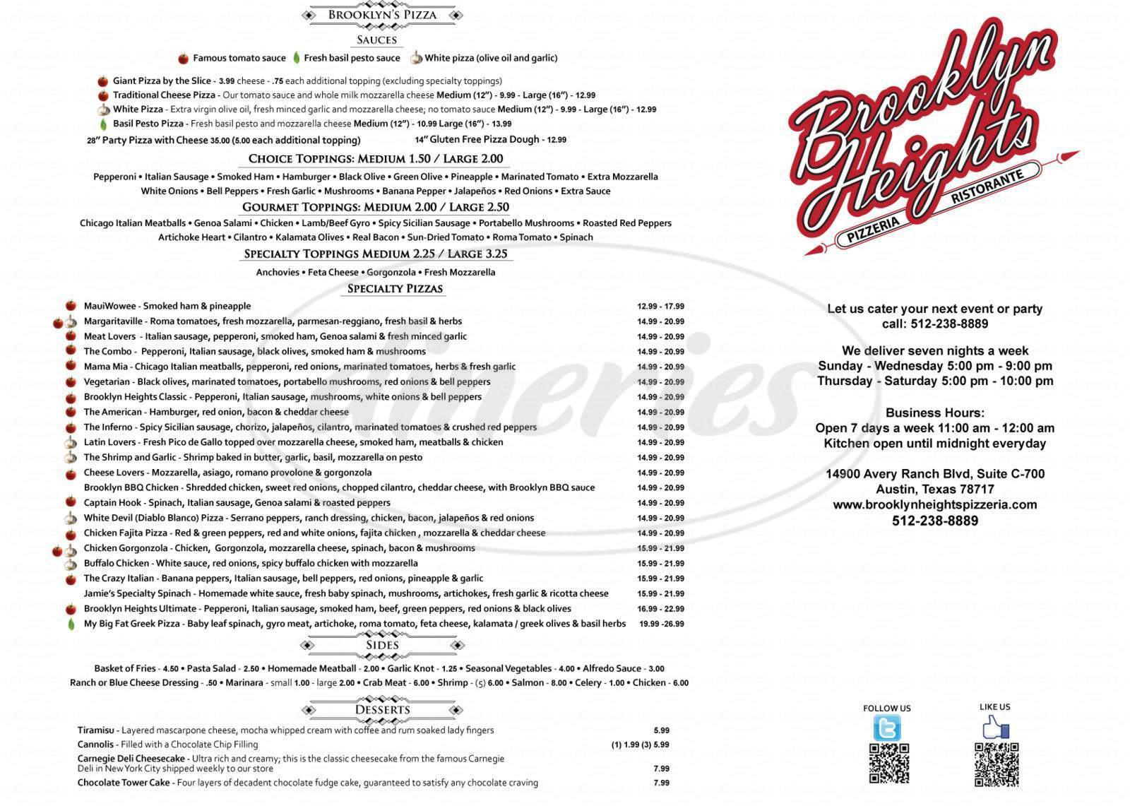menu for Brooklyn Heights Pizzeria
