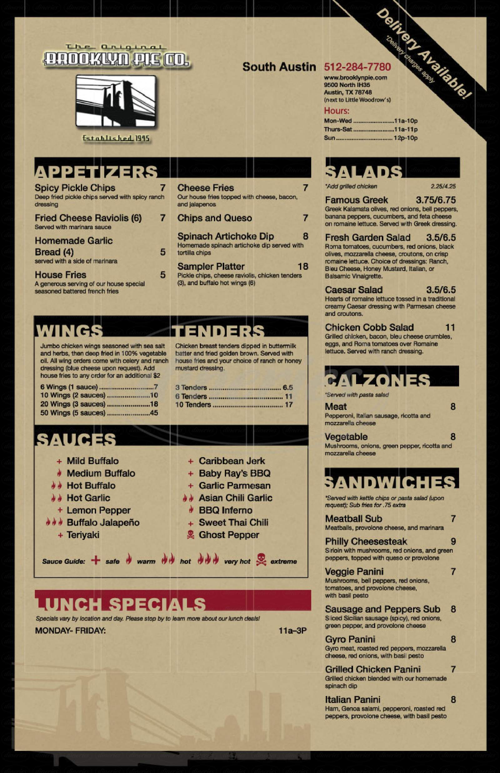 menu for Brooklyn Pie Co.