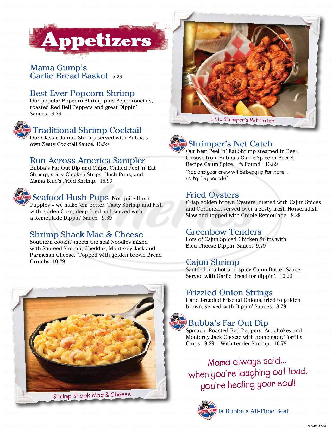 menu for Bubba Gump