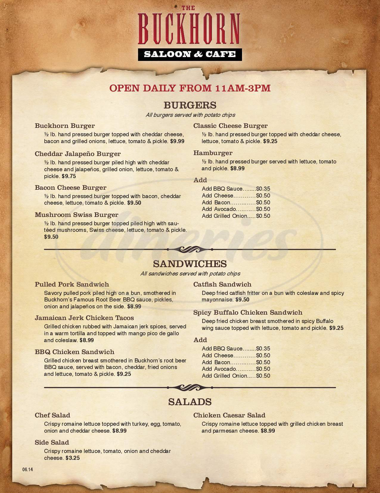 menu for The Buckhorn Saloon & Museum