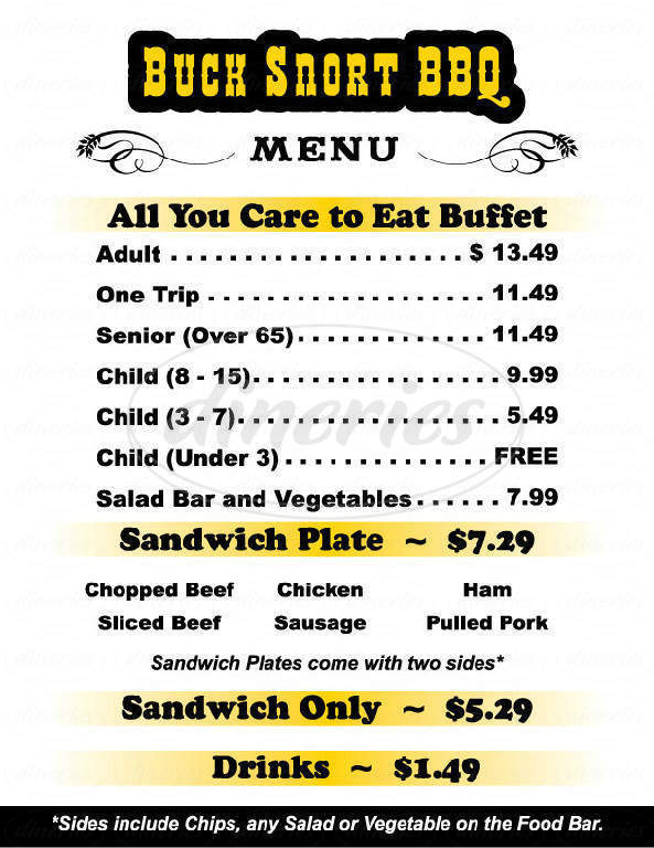 menu for Buck Snort Bbq
