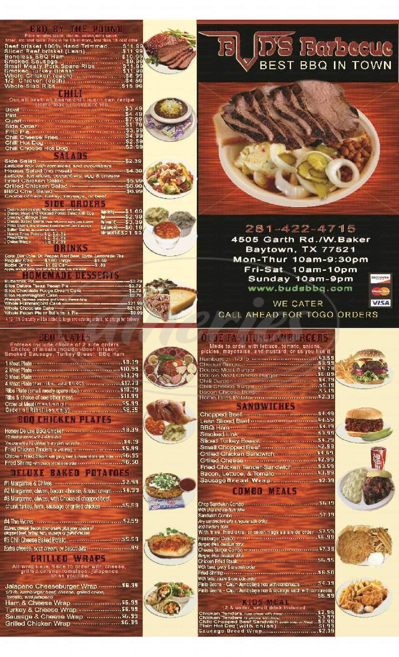 menu for Bud's Barbecue