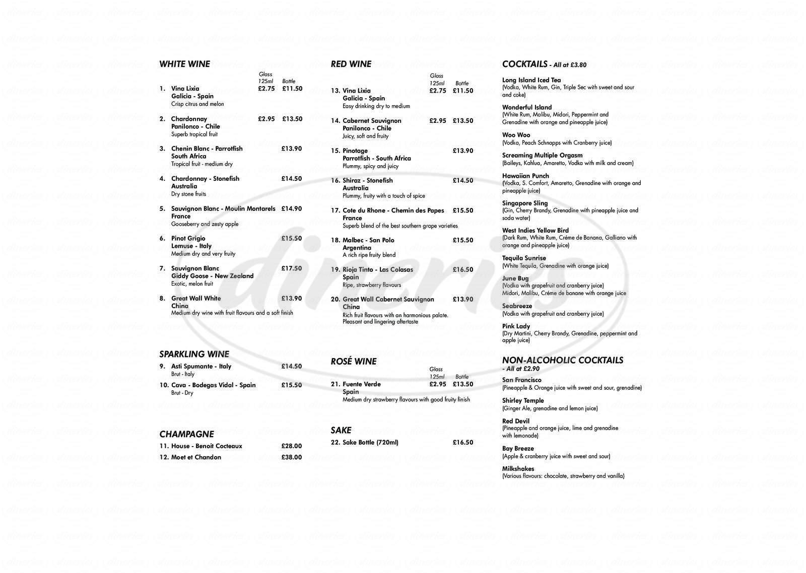 menu for Buffet City